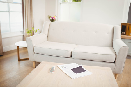 domicile: Empty living room with sofa and table with newspaper and television remote Stock Photo