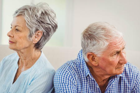 Senior couple upset with each other at home