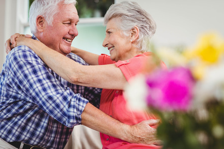 each: Senior couple embracing each other in living room