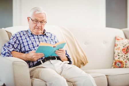 home life: Senior man sitting on sofa and reading a book in living room