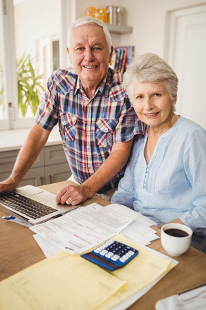 figuring: Portrait of senior couple checking their bills at home