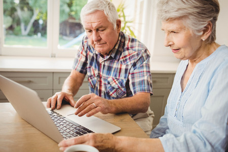 figuring: Senior couple checking their bills at home