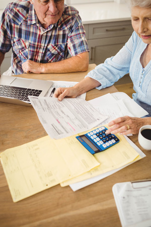 figuring: Worried senior couple checking their bills at home