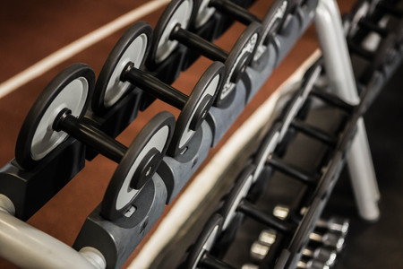 exercise machine: Detail of exercise machine in a gym Stock Photo