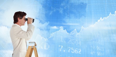 stocks and shares: Businessman looking on a ladder against stocks and shares
