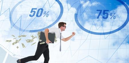 running businessman: Running businessman against blue data