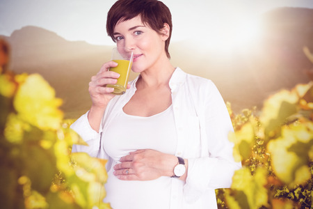 greenness: Portrait of happy pregnant woman drinking orange juice against greenness field of grapevine Stock Photo
