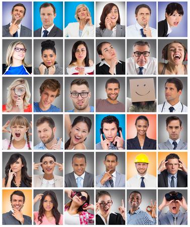 Composite image of suprised businessman looking through binoculars against composite image of happy businessman making ok sign