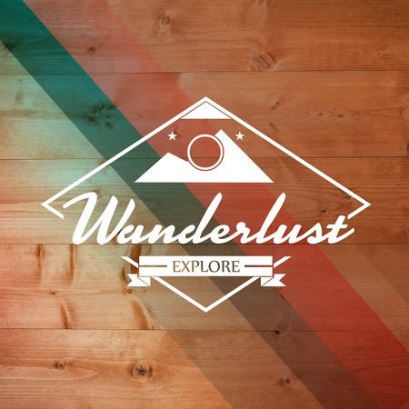 wanderlust: Wanderlust word against colored wood Stock Photo