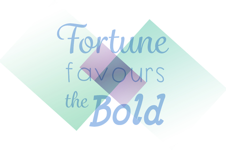 favours: Fortune favours the bold words against colored background Stock Photo