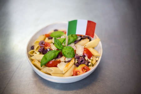 commercial kitchen: Bowl of pasta with italian flag in a commercial kitchen LANG_EVOIMAGES