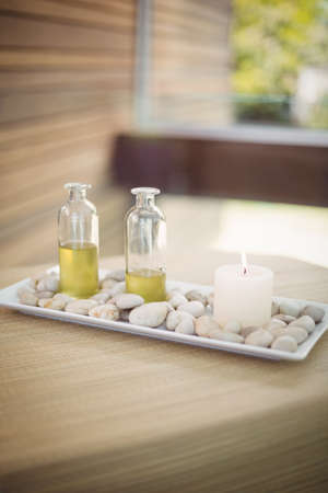 spa therapy: Tray of beauty therapy items at the health spa