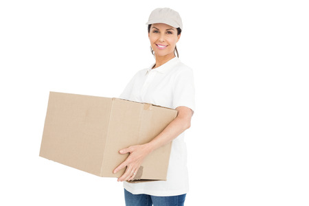 workwoman: Delivery woman carrying a package on white background