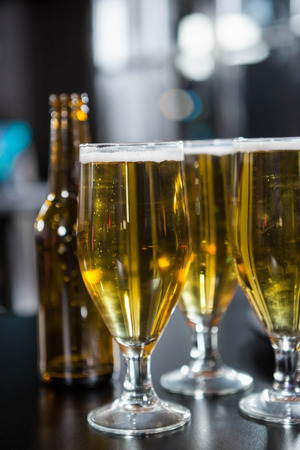bartending: Glasses of beer ready to serve on bar counter in bar