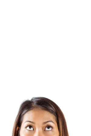 half face: Half face of beautiful asian woman on white background Stock Photo