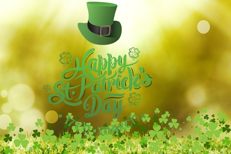 saint patty: St patricks day greeting on bright background Stock Photo