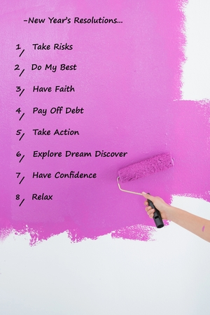new years resolution: List of new years resolution on pink background