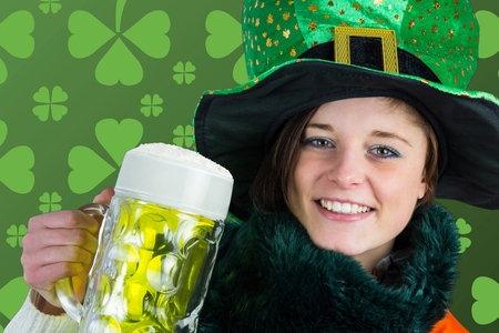 st  patty: Picture for st patricks day with girl holding beer