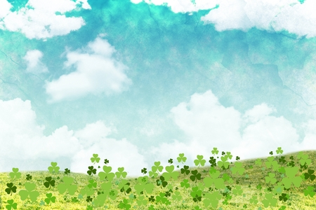 clovers: Three leaf clovers on sky background