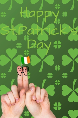 cloverleaves: Two fingers with smiley for st patricks day