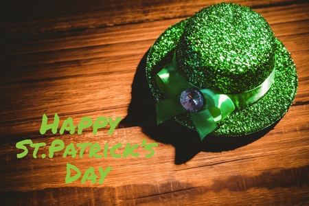 saint patty: St patricks day greeting on wooden background