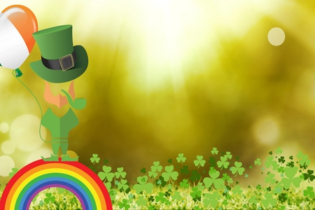 st  patty: St patricks symbols on bright background Stock Photo