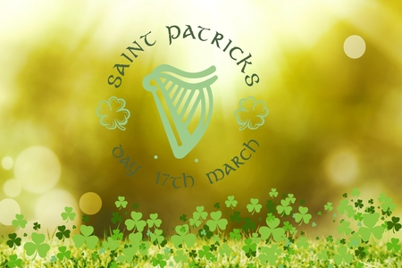 st  patty: St patricks day greeting on bright background Stock Photo