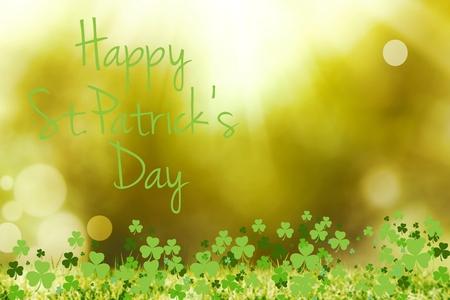 st patty day: St patricks day greeting on bright background Stock Photo