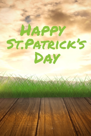 st  patty: St patricks day greeting against sky Stock Photo