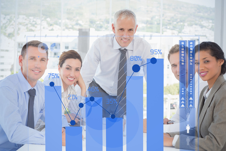 percentages: Percentages graphical representation against business team having a meeting