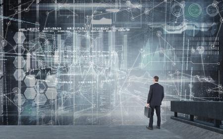 looking away: Businessman looking away  against hologram background