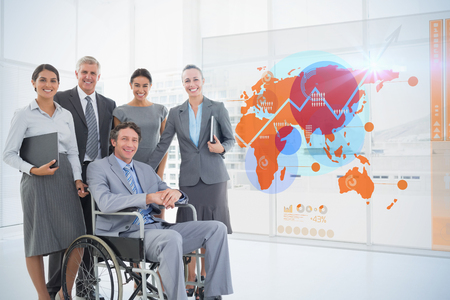 well dressed woman: Futuristic interface with the world map  against disabled businessman with his colleagues smiling at camera Stock Photo