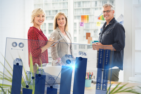 percentages: Percentages graphical representation against standing business team looking at the camera