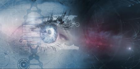 blue eye: Close up of female blue eye against interface