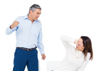 whitebackground: Angry man about to hit his wife on whitebackground