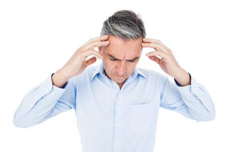 businessman thinking: Worried businessman thinking on white background