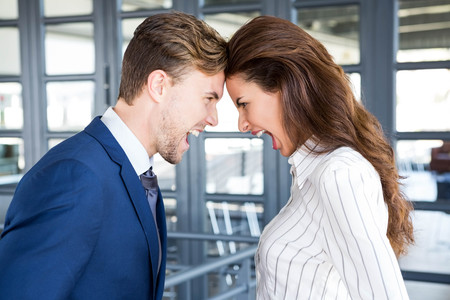 violence in the workplace: Close-up of angry businessman and businesswoman standing head to head Stock Photo