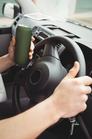 life threatening: Man driving his van while drunk Stock Photo