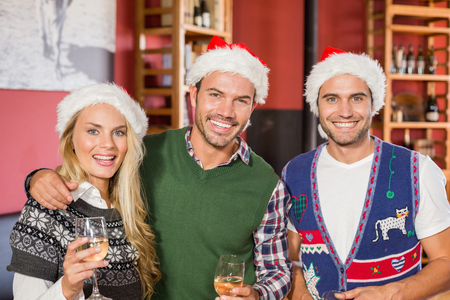 Friends wearing Christmas hats smiling at camera and holding wine glasses Stock Photo
