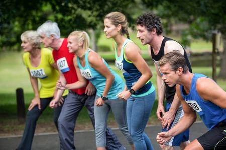 starting line: Marathon athletes on the starting line in park