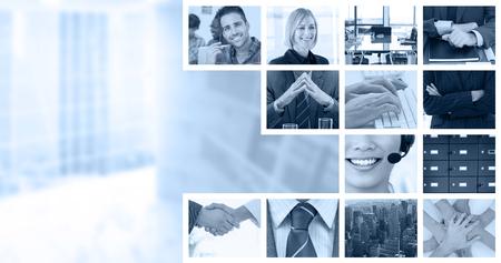 Serrer la main sur les lunettes et le journal après la réunion de l'entreprise contre les gens d'affaires en utilisant le clavier Banque d'images - 54054388