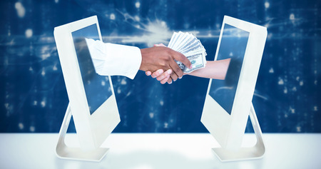 digitally generated image: Businessman handing over banknotes to female colleague against digitally generated image of abstract pattern Stock Photo