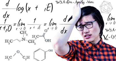 wistfulness: Sad hipster holding his head with his hand against maths equation