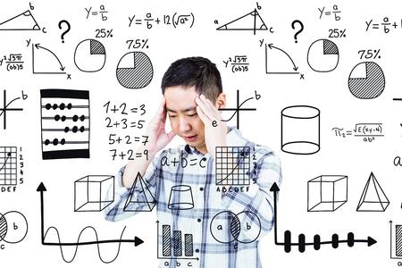 wincing: Asian man getting a headache against maths Stock Photo