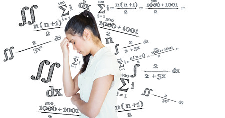 head bowed: Casual upset businesswoman with head bowed against maths equation Stock Photo