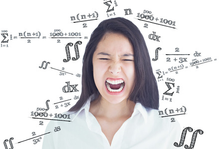 equation: Screaming woman  against maths equation Stock Photo