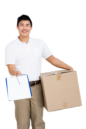 industry background: Portrait of delivery man with cardboard box and clipboard on white background