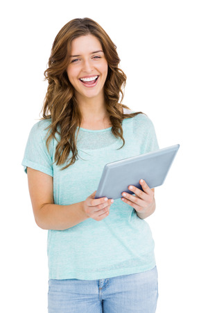 cut out device: Portrait of happy young woman using digital tablet on white background