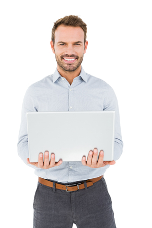 cut out device: Young man using laptop on white background