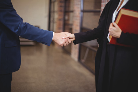 mid adult   female: Midsection of female lawyer handshaking with client while standing in office
